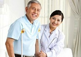 Family doctor and senior patien
