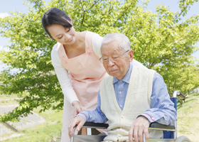 Japanese caregivers and senior in the field caregiver