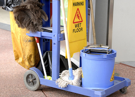 cleaning products bucket mop wet sign trolly