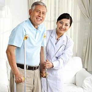 Family doctor and senior patient