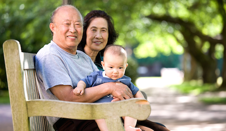 Child And Grandparents In A Park