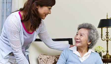 Caregiver seeing how her client is doing