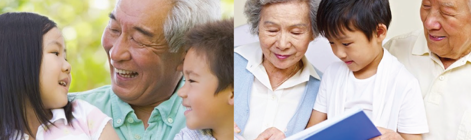 Self-Help for the Elderly Banner showing Elder people reading and enjoying company with their grandkids